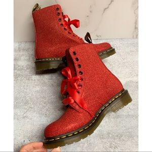 NEW❤️Dr. Martens Glitter Red Pascal Lace Up Boots